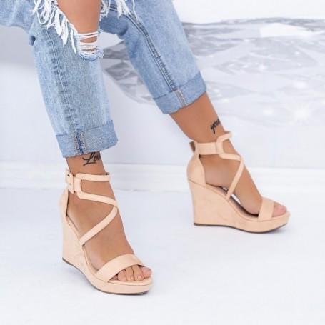 Sandale Dama cu Platforma TY9 Nude Mei