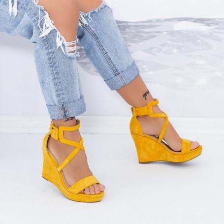 Sandale Dama cu Platforma TY9 Galben Mei