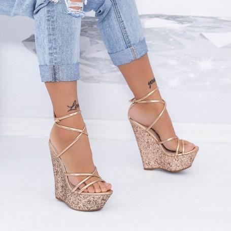 Sandale Dama cu Platforma XKK300A Champagne Mei