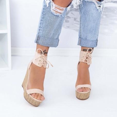 Sandale Dama cu Platforma XKK301 Bej Mei