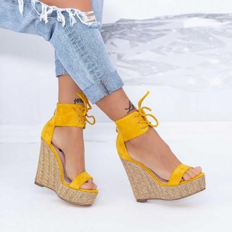 Sandale Dama cu Platforma XKK301 Galben Mei