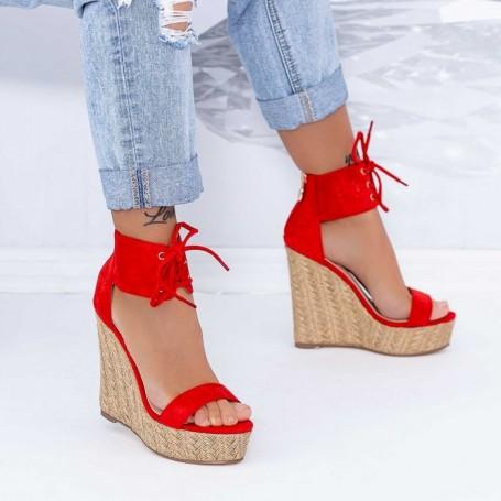 Sandale Dama cu Platforma XKK301 Rosu Mei