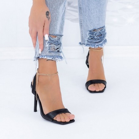 Sandale Dama cu Toc subtire XKK307 Negru Mei