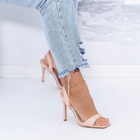 Sandale Dama cu Toc subtire XKK307 Roz Mei