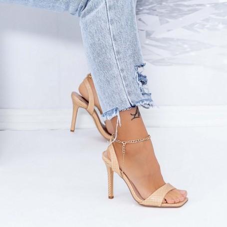 Sandale Dama cu Toc subtire XKK307 Bej Mei