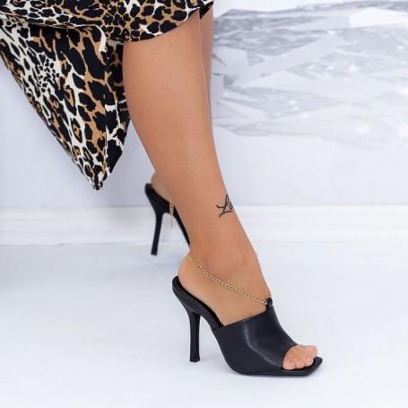 Papuci Dama cu Toc subtire XKK308 Negru Mei