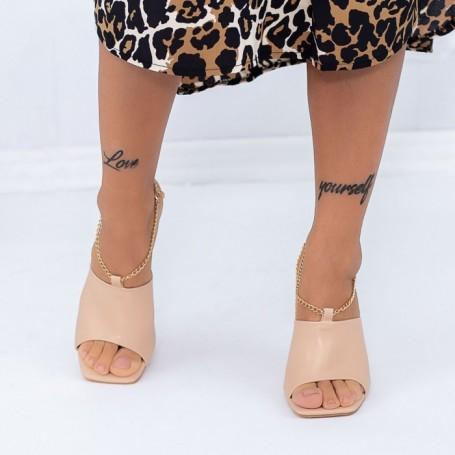Papuci Dama cu Toc subtire XKK308 Bej Mei