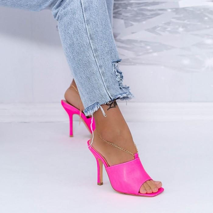 Papuci Dama cu Toc subtire XKK308 Roz Mei