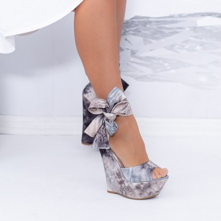 Sandale Dama cu Platforma XKK500 Gri Mei