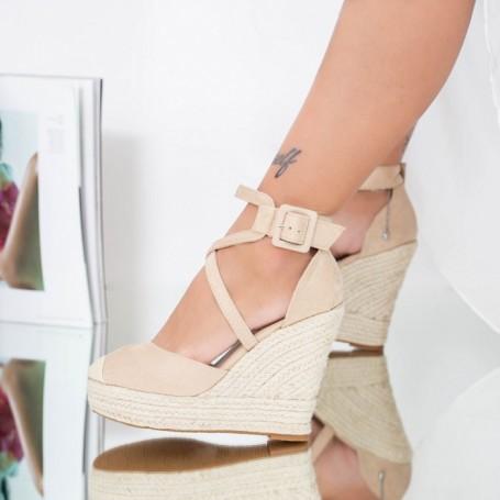 Sandale Dama cu Platforma FS31 Bej Mei