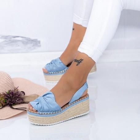 Sandale Dama cu Platforma FS27 Albastru Mei
