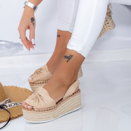 Sandale Dama cu Platforma FS27 Bej Mei
