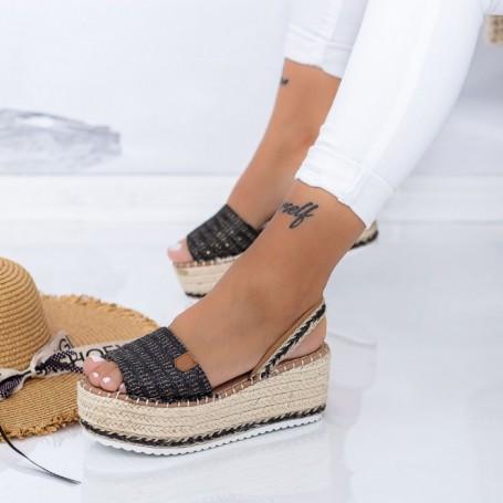 Sandale Dama cu Platforma FS30 Negru Mei