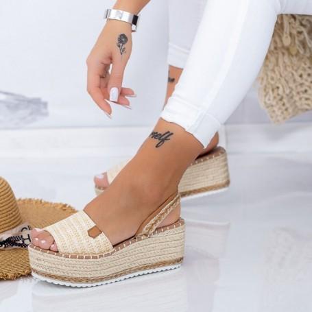 Sandale Dama cu Platforma FS30 Bej Mei