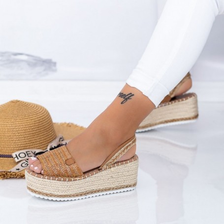 Sandale Dama cu Platforma FS30 Maro deschis Mei