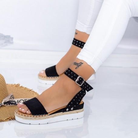 Sandale Dama cu Platforma LE217 Negru Mei