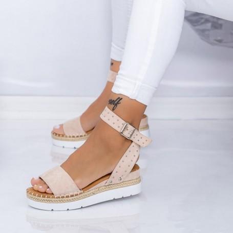 Sandale Dama cu Platforma LE217 Bej Mei