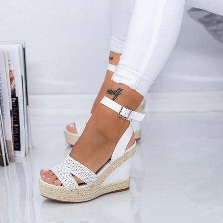 Sandale Dama cu Platforma LE226 Alb Mei