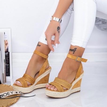 Sandale Dama cu Platforma LE226 Maro deschis Mei