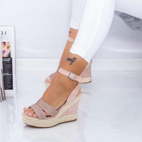 Sandale Dama cu Platforma LE226 Roz Mei