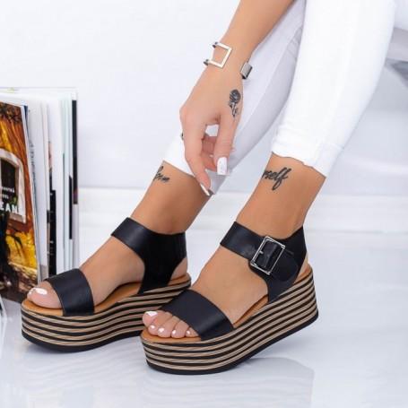 Sandale Dama cu Platforma TF16 Negru Mei