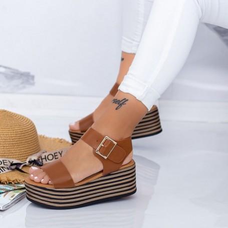 Sandale Dama cu Platforma TF16 Maro Mei