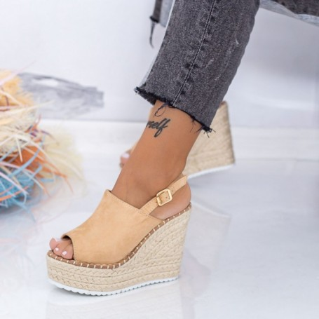 Sandale Dama cu Platforma FS35 Bej Mei