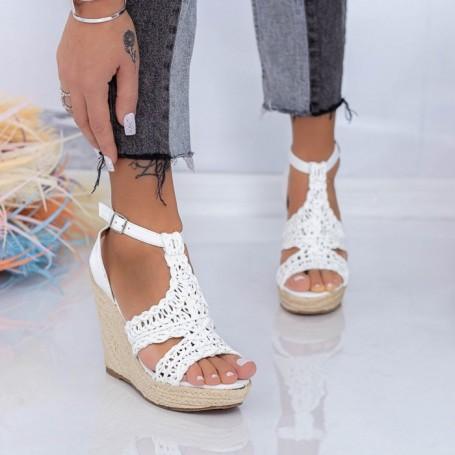 Sandale Dama cu Platforma FS52 Alb Mei