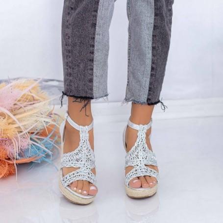 Sandale Dama cu Platforma FS52 Argintiu Mei