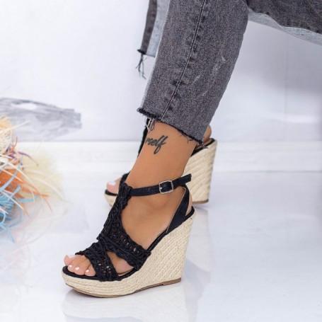Sandale Dama cu Platforma FS52 Negru Mei