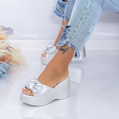 Papuci Dama cu Platforma HXS2 Argintiu Mei