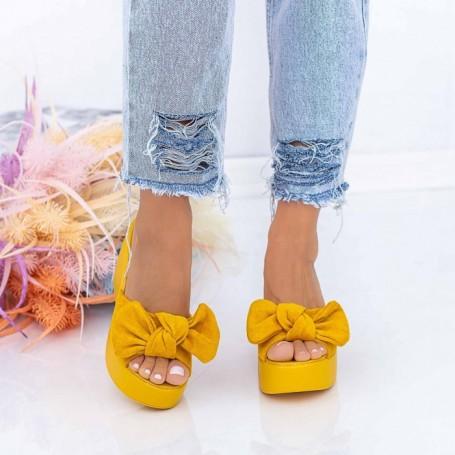 Papuci Dama cu Platforma HXS2 Galben Mei