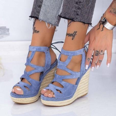 Sandale Dama cu Platforma HXS13 Albastru Mei