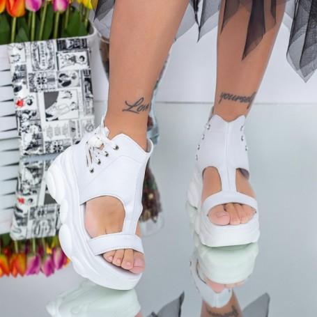 Sandale Dama cu Platforma WLJD5 Alb Mei