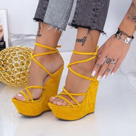 Sandale Dama cu Platforma XKK300 Galben Mei