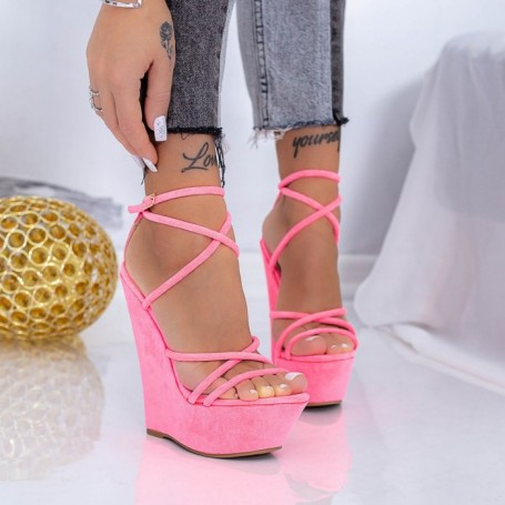 Sandale Dama cu Platforma XKK300 Roz Mei