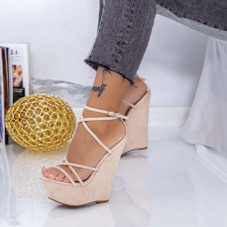 Sandale Dama cu Platforma XKK300 Bej Mei