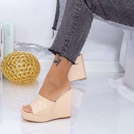 Papuci Dama cu Platforma XKK508 Bej Mei