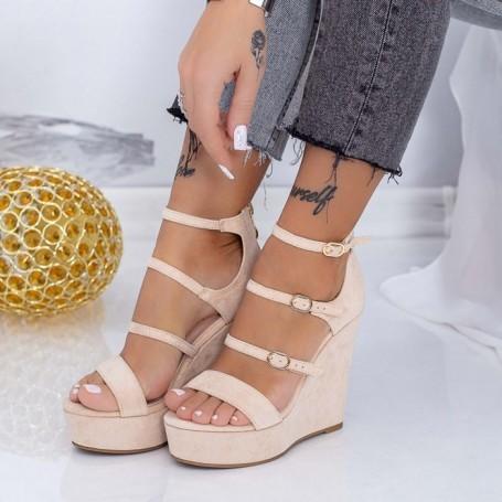 Sandale Dama cu Platforma XKK510 Bej Mei