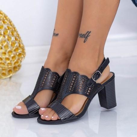 Sandale Dama cu Toc gros CS83 Negru Mei