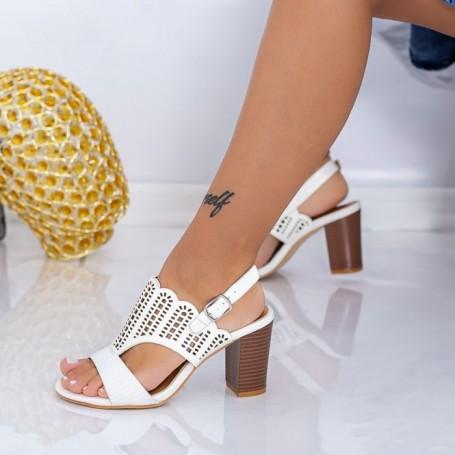 Sandale Dama cu Toc gros CS83 Alb Mei