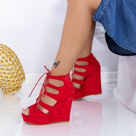 Sandale Dama cu Platforma HXS16 Rosu Mei