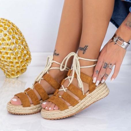 Sandale Dama cu Platforma LE220 Maro deschis Mei