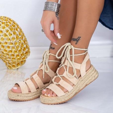 Sandale Dama cu Platforma LE220 Bej Mei