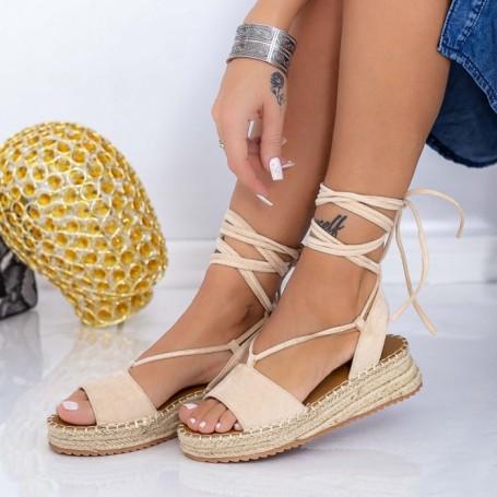 Sandale Dama cu Platforma LE230 Bej Mei