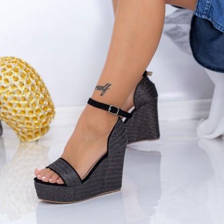 Sandale Dama cu Platforma FS26 Negru Mei