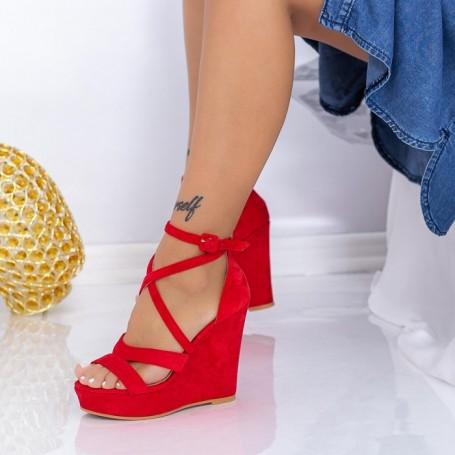 Sandale Dama cu Platforma HXS18 Rosu Mei