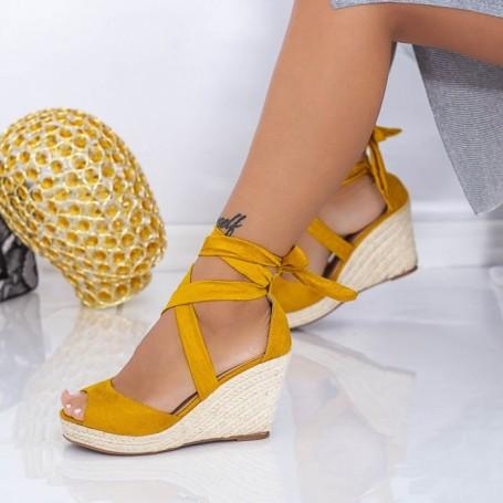Sandale Dama cu Platforma LE223 Galben Mei