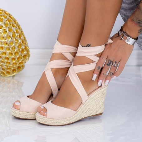 Sandale Dama cu Platforma LE223 Bej Mei