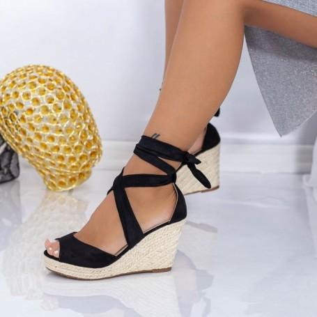 Sandale Dama cu Platforma LE223 Negru Mei